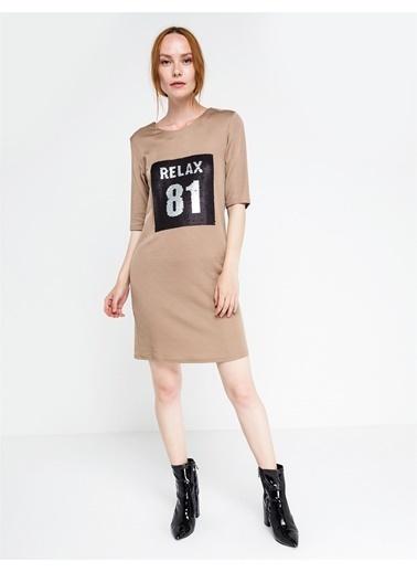Love'n Fashion Paris Baskılı Yarım Kol Elbise Vizon